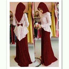 Maxi Lace Ribbon Maroon Hijab Evening Dress, Hijab Dress Party, Hijab Style Dress, Modern Hijab Fashion, Abaya Fashion, Modest Fashion, Fashion Dresses, Iranian Women Fashion, Islamic Fashion