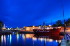 HDR photo of Katajanokan kanava canal by blue hour in Helsinki, Finland.