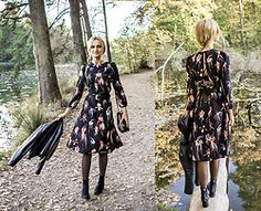 Adriana M. - H&M Floral Dress, H&M Suede Boots, Mango Small Bag, Zara Leather Jacket - Wonderland