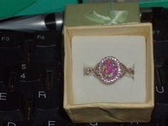 LOOK!!!! A STUNNING STERLING SILVER PINK FIRE OPAL AND AAAAA CZ ENGAGEMENT RING SIZE 8