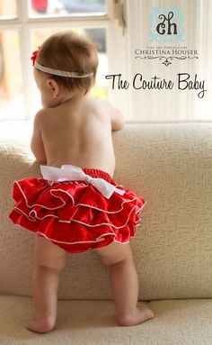 Red & White Satin Ruffle Bloomers - The Couture Baby