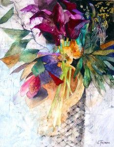 Watercolor - Deep Purple Lilies