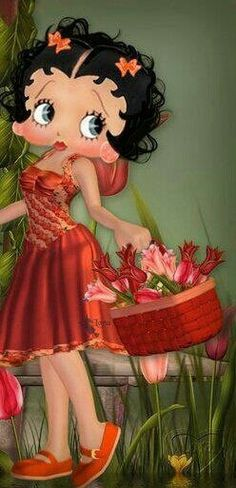 Betty Boop beautiful basket full of tulips. Spring time