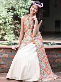 Shop Cream orange printed plain silk gown online from G3fashion India. Brand - G3, Product code - G3-GGO0533, Price - 5295, Color - Cream, Orange, Fabric - Silk,