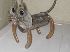 cat metal yard art,sculptures,garden art,found object.recycled art metal, sculpture art,. $35.00, via Etsy.