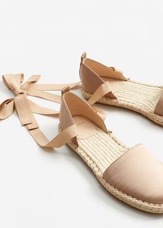 Lace-up satin espadrilles Pretty Shoes, Cute Shoes, Me Too Shoes, Flat Sandals Outfit, Shoes Sandals, Lace Up Espadrilles, Espadrille Sandals, Sock Shoes, Shoe Boots