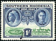 "Southern Rhodesia  1940 Scott 63 1/- dark blue & bright green ""Victoria, George VI, Lobengula's Kraal  and Government House"""