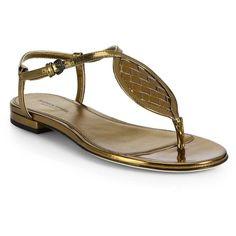 Bottega Veneta Woven Metallic Leather Sandals ($441) ❤ liked on Polyvore featuring shoes, sandals, bronze, leather shoes, braided ankle-wrap sandal, metallic leather sandals, leather ankle strap sandals and metallic thong sandals