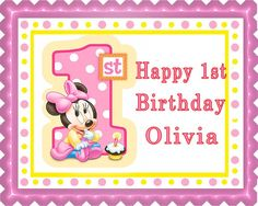 BABY MINNIE MOUSE 1st Birthday B Edible Cake Topper & Cupcake Toppers – Edible Prints On Cake (EPoC)