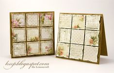 handmade card by Klaudia ... patchwork grids ... printed papers ... shabby chic/vintage ... luv the one with the sewn borders ...