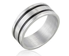 $7.99 - 8MM Men's Stainless Steel Ring with Black Lines Design