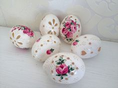 Set of 6 Hand Decorated Madeira Painted Decoupage by VeryAndVery, $30.00
