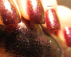 Pink/gold flakie over Blood Roses