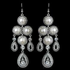 Pearl and Rhinestone Chandelier Earrings Bridal Jewelry Sets, Unique Jewelry, White Chandelier, Pearl Earrings, Drop Earrings, Headpiece Wedding, Necklace Set, Earring Set, Antique Silver