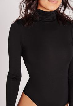 For a sleek finish to your look, invest in this long sleeve bodysuit. This transitional piece features a turtle neck for a new season update and is perfect for bringing together a minimalist look. Team with a faux suede skirt and barely the. Fall Winter Outfits, Holiday Outfits, Fashion 2017, Womens Fashion, Turtleneck Bodysuit, Body Suit Outfits, Bodysuit Fashion, Black Bodysuit, Long Sleeve Bodysuit