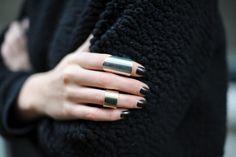 Geometric Silver Metal Finger Wrap Pair of Rings Jewelry