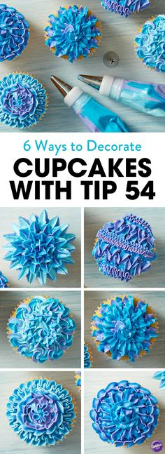 Check out six different ways to decorate cupcakes using the Wilton star decorating tip 54. A unique tip that allows for great texture and motion in your icing design, the tip 54 is great for piping textured pull-out stars, fun zig-zags and lovely rosettes. Mix icing colors in one bag to get this neat color effect!