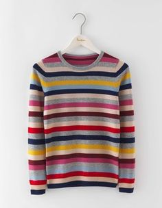 BODEN Cashmere Crew Neck Jumper Multi Stripe - Earn your stripes with these zingy little must-have jumpers Jumper Outfit, Sweater Jacket, Cashmere Jumper, Pattern Fashion, Knitwear, Crew Neck, Fashion Outfits, Clothes For Women, Sweaters