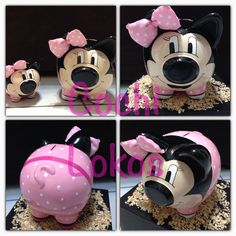 Alcancía minnie rosa Pig Bank, Personalized Piggy Bank, Mini Pigs, Cute Piggies, Craft Gifts, Decoupage, Crafts For Kids, Projects To Try, Valentines