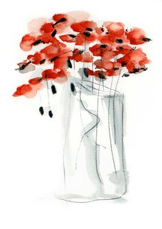 Poppy Original Watercolor Painting Abstract Art  Red Grey Minimalist whimsical nursery wall. $63.00, via Etsy.