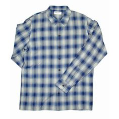 SAINT LAURENT SHIRT - LARGE - L - 41 / 16 - BLUE GRAY PLAID