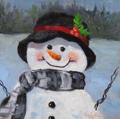 Snowman Painting - Snowman Iv - Christmas Series by Cheri Wollenberg Diy Christmas Lights, Decorating With Christmas Lights, Christmas Door, Outdoor Christmas, Christmas Balls, Christmas Wreaths, Christmas Crafts, Christmas Ornaments, Christmas Centerpieces