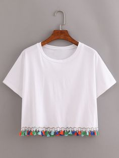 Shop White Contrast Fringe T-Shirt online. SheIn offers White Contrast Fringe T-. Shop White Contrast Fringe T-Shirt online. SheIn offers White Contrast Fringe T-Shirt & more to fit your fashionable Diy Fashion, Ideias Fashion, Fashion Outfits, Fashion Kids, Shirt Designs, Pullover Designs, Fringe Shirt, Diy Clothes, Crop Tops