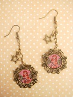 Items similar to The Star Guardian Angel - vintage antiqued art illustrated earrings with a magic star charm on on Etsy Antique Art, Vintage Antiques, Jewelry Illustration, All Art, Mixed Media Art, Charmed, Angel, Magic, Pendant Necklace