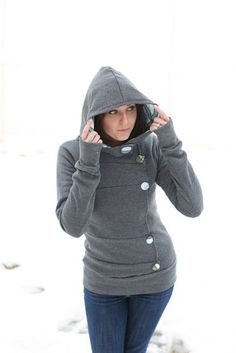 Home made sweatshirt idea. XL sweater, buttons and fabric!