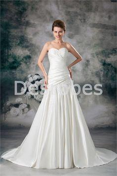 Robe de mariée A-ligne en satindécoration perlée/appliques 2014
