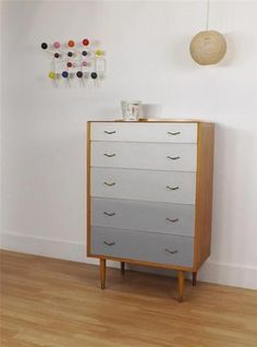 Retro chest of drawers with grey fronts vintage retro 50s 60s mid century | eBay