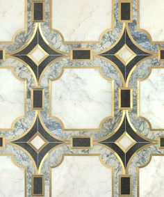 Vendôme / Odyssée Collection featured in natural stones (Calacatta oro, Verde Dark & Verde Serpe) & brushed brass by Mosaique Surface