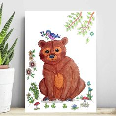 Brown bear art, bear poster print. Cute illustration of a Brown bear with a bird on his furry head! Lovely poster for a kidsroom. Look for it in my shop LumisaDesign! Also available: a fox, a raccoon a unicorn and more.