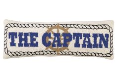One Kings Lane - All for Nautical - The Captain 9x26 Pillow, Beige/Blue