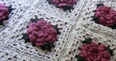 Crochet Rose Granny Square Afghan - Free Pattern