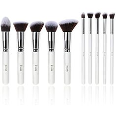 Jessup 10 pcs Kabuki Makeup brushes White/Silver Foundation Round Face Eyeliner Crease Defined Cosmetics Brush Set -- Check out the image by visiting the link. (This is an affiliate link) Cosmetic Brush Set, Makeup Brush Set, Eyeshadow Makeup, Eyeliner, Brush Sets, Foundation Brush, Cosmetics, Link, Face