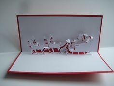Pop-Up-Karten - Pop up Karte -Weihnachtsmann mit Schlitten+Rentier - ein Designerstück von Bastel-Preussin bei DaWanda