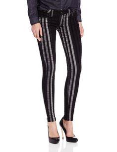 frankie b. Women's My BFF Jegging with Velvet Stripes, Black, 26