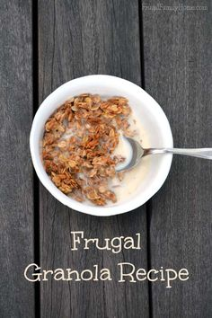 An easy and delicious granola recipe that only cost pennies per serving.   #recipe #frugal #granola