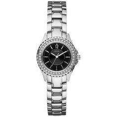 Guess Women's W85067L1 Silver Stainless-Steel Quartz Watch with Black Dial