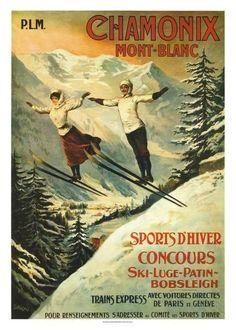 1910 France Chamonix Skiing PLM Travel Poster by Retro Graphics Ski Vintage, Vintage Ski Posters, Vintage Winter, Vintage Art, French Posters, Retro Posters, Vintage Christmas, Telluride Colorado, Chamonix Mont Blanc