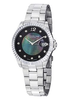 Women's Lady Clipper Pearl Black Dial Stainless Steel - Stuhrling Original Watch