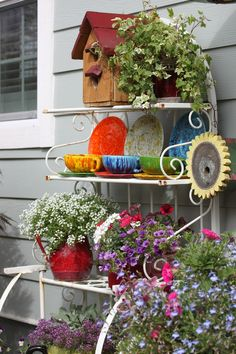 My little bakers rack turned flower stand! ~ Mary Irwin I'd put it on the porch, or next to my porch Bakers Rack Decorating, Deck Decorating, Mini Fairy Garden, Garden Art, Outdoor Garden Rooms, Outdoor Decor, Balcony Garden, Outdoor Bakers Rack, Outdoor Shelves