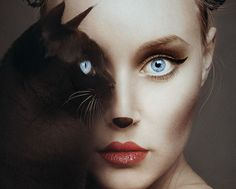 """Amazing photography by artist Flora Borsi. This photoshop in real life """"animeyed"""" Flora Borsi and her makeup skills. She become one with animals by replacing her eyes with theirs. Creative Photography, Fine Art Photography, Artistic Photography, Photography Ideas, Fantasy Photography, Animal Photography, Photography Trips, Photography Hashtags, Photography Outfits"""