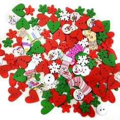 [EBay] 100Pcs 2 Holes Wood Buttons Sewing Scrapbooking Mixed Colors Christmas Stocking