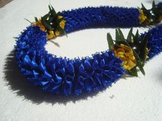 Hawaiian Ribbon Lei Blue Carnation with Kukui by togetherwegrow, $28.00