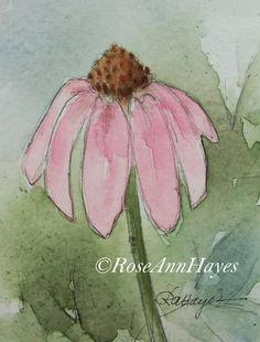 This is my original watercolor painting of a pink coneflower, painted in the small collector size. This size is 2 ½ x 3 ½ inches, and it comes matted in a white 5 x 7 mat. The painting and mat will have an acid-free foamboard backing, and everything will be wrapped in a clear mylar sleeve. Everything will be ready to pop into any standard 5 x 7 frame, or it could be rematted to fit into a larger frame. It will be prepared in such a way that it can be given as a gift, even without a frame. It…