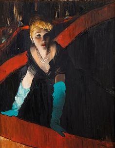 Elégante à l'Opéra by René Gruau (1909-2004), French (amarehabeo)
