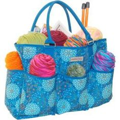 Maggie's Crochet · Everything Mary Teal Floral Yarn Organizer