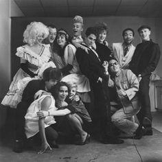 The Downtown Show: The New York Art Scene, 1974–1984    Tseng Kwong Chi, Puck Ball (The Gang's All Here), 1983. Vintage gelatin silver print, 36 x 36 in. Courtesy Muna Tseng Dance Projects, Inc.    left to right, top to bottom: Katy K,  Keith Haring, Carmel Johnson, John Sex, Bruno Schmidt, Samantha McEwen, Juan Dubose, Dan Friedman, Kenny Scharf, Tereza Goncalves, Min Thomez, and Tseng Kwong Chi.